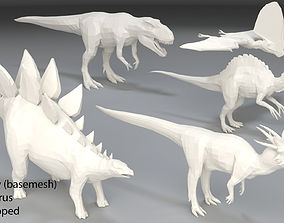 Dinosaur-5 peaces-low poly-part 7 3D model low-poly