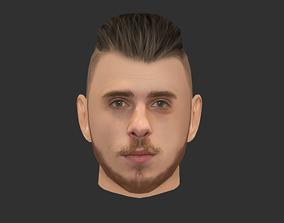 3D model David Degea GoalKeeper Head - Lowpoly head for
