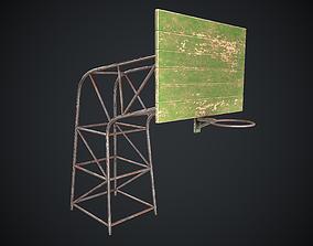 3D model game-ready Basketball Hoop Green Worn Old PBR