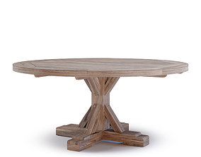 Protected Teak Round Trestle Dining Table 3D asset
