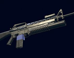 3D model M16A1 Automatic Rifle equipped with M203 Launcher