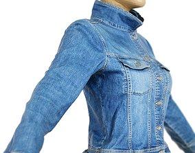 3D asset Jacket Slim Fit Dark Blue Jeans Closed Women