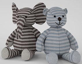 toy elephant and bear 3D model