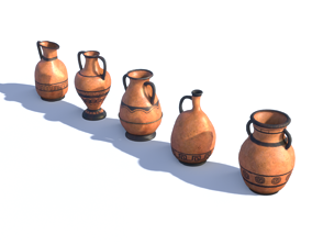 3D asset low-poly Ancient Greek Vase
