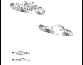 Minimalist bridal set rings 3d jewelry cad