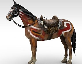 3D asset War painted horse with saddle