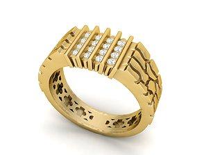 3D print model Gents Diamond Nugget Ring 10