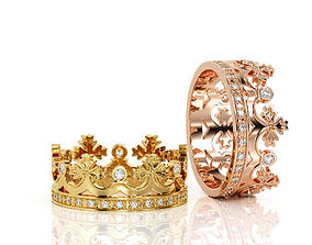 Crown ring Band R BA 0005 3D print model