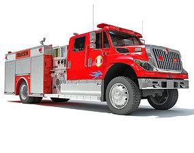 Red Rescue Fire Pumper Truck 3D model