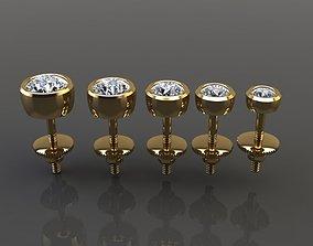 BEZEL STUD DIAMOND EARRING MIX 3D printable model