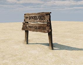3D model Old Wooden Signboard