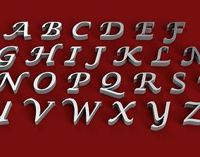 LUCIDA CALLIG font uppercase and lowercase 3D letters STL