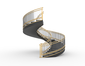Spiral Staircase with Railing Architectural Details 3D