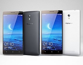 Oppo Find 7 and 7A White and Black 3D model