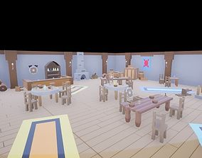 Low Poly Medieval Bar and Headquarters 47 assets 3D model