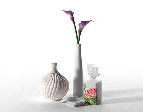 Cream Purple Calla Lily Composition 3D model