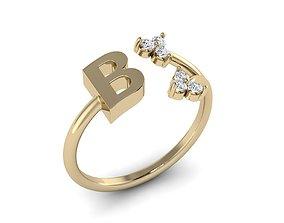 3D print model Jewelry Alphabet Ring B with Diamonds