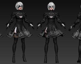 2B Fanart - Basemesh 3D model fantasy