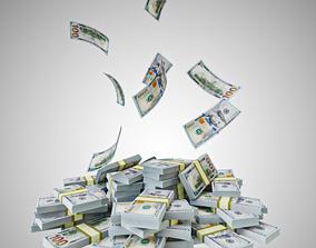 3D model game-ready Pile of dollar bundles