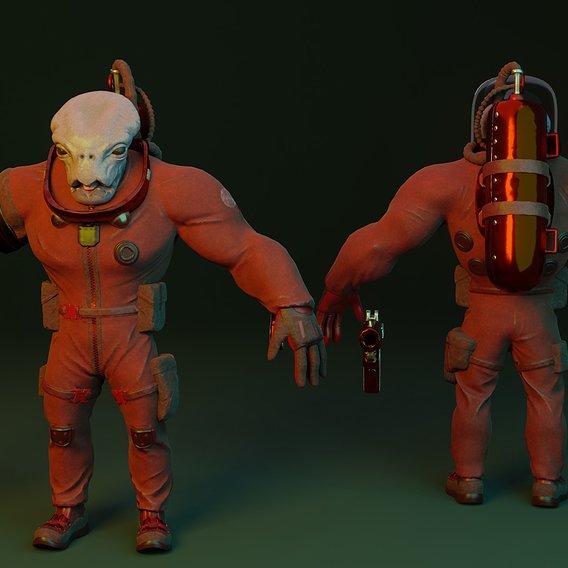 Alien in a spacesuit