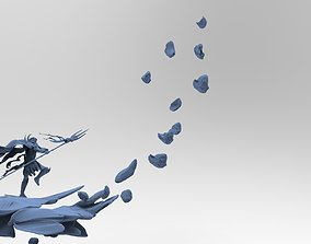3D model Spearman charging with Flying Rocks