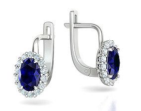 Diana Earrings Oval Stone 7x5 3dmodel