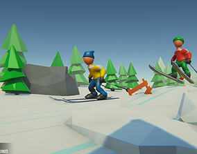 3D model Ski - Props for Winter Runner