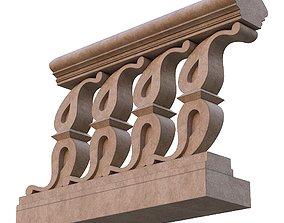 3D model Stone balustrade 02