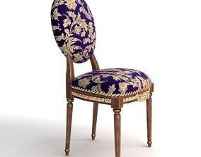 3D model Antique Chair Brocade Armless 2