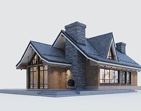 3D Modern half-timbered house with a residential attic