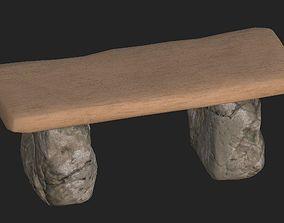 Cartoon wooden bench 2 3D model