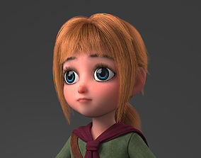 fur 3D model Cartoon Girl Rigged