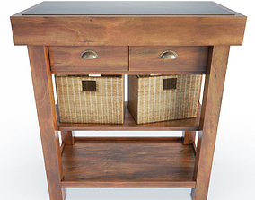 3D Wooden Side Cabinet And Baskets