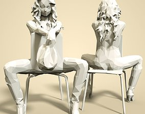 3D print model lady Girl Low poly Sculpture