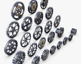3D Gears Set Low Poly v 1