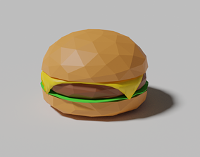 3D asset Low Poly Cheeseburger