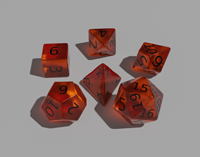 3D model low-poly Orange Clear Dice Set