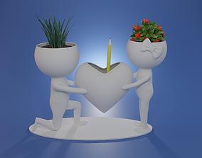 3D printable model Pen holder succulent plant pot Human 3
