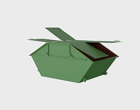 Steel dumpster 6 cubic meters with 4 3D model