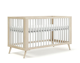 Wooden Baby Bed 3D