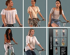 scanned Set of 3D women on a bike