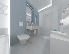 scene 3D Blue bathroom