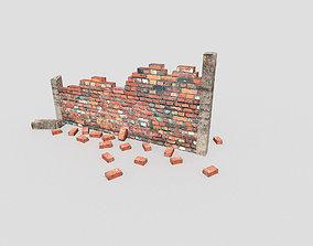 low poly broken wall 3D model VR / AR ready