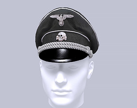 WWII german SS officer visor cap 3D