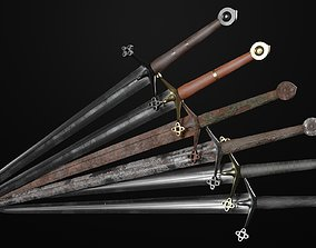 3D model Claymore medieval sword with multiple texture