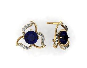 Model of three-leaf diamond earrings