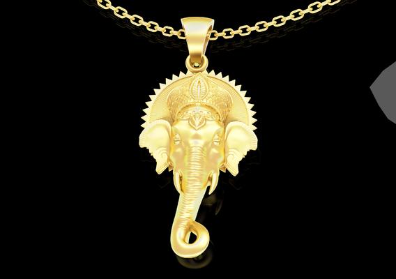 Indian elephant Pendant jewelry Gold 3D print model