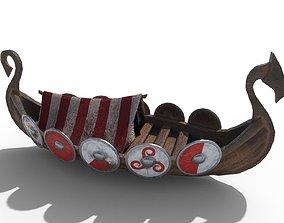 Viking Ship Drakkar PBR Low Poly 3D asset
