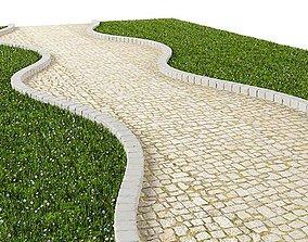 White Cobblestone Path 3D model