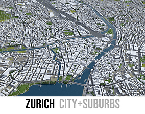 3D asset low-poly Zurich - city and surroundigs